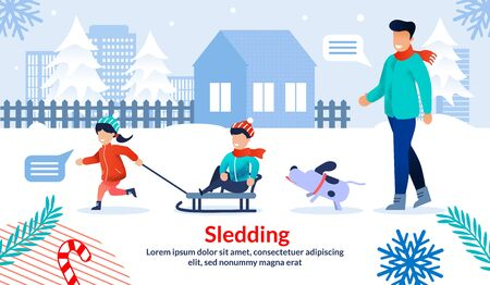 Parents Winter Outdoor Activity with Kids, Family Holiday Leisure and Entertainment Trendy Flat Vector Horizontal Banner, Poster Template. Happy Father, Childrens Sledding on City Street Illustration