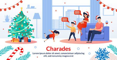 Merry Christmas, Happy New Year Celebration Family Tradition, Holiday Games Trendy Flat Vector Horizontal Banner, Poster. Smiling Parents Playing in Charades with Kids near Christmas Tree Illustration Çizim
