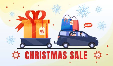 Christmas Sale, Winter Holidays Discounts, Stores Prices Special Offer Flat Vector Advertising Banner, Promotion Poster Template. Happy Family Riding Car with Trailer Loaded Giftboxes Illustration Çizim