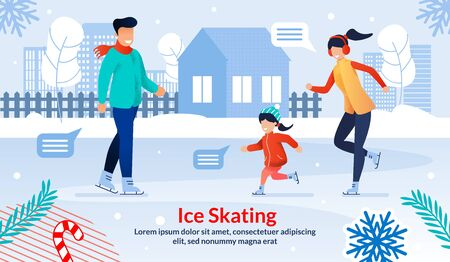 Physical Activity in Winter Time, Family Leisure, Entertainment on Christmas Vacations Trendy Flat Vector Banner, Poster Template. Happy Father and Mother Ice Skating with Child Outdoor Illustration Çizim