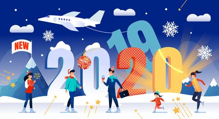 Celebrating New 2020 Year, Traveling on Winter Holidays Vacation Trendy Flat Vector Concept. Happy Businessman with Glass of Wine, Parents with Child Ice-Skating, Celebrating Christmas Illustration