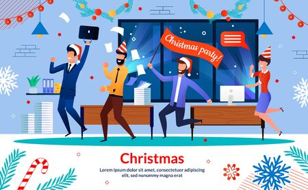 Christmas Party in Company Office Trendy Flat Vector Horizontal Banner, Poster Template with Businessmen, Businesswoman, Company Employees in Santa Claus Hat, Having Fun, Dancing Together Illustration