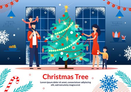 Merry Christmas Family Traditions, Winter Holiday Celebration Trendy Flat Vector Horizontal Banner, Poster Template. Happy Father and Mother with Kids Decorating Christmas Tree at Home Illustration Çizim