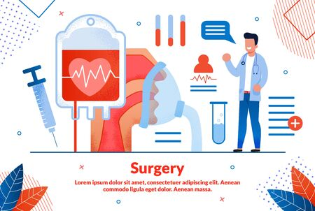 Modern Surgery Technologies, Health Care Innovations Trendy Flat Vector Vector Banner, Poster. Happy Doctor Character, Blood Donation, Injection Syringe, Artificial Respiration Apparatus Illustration Çizim