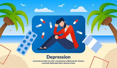 Men Depression Treatment with Medicines, Pharmacy Industry Product Trendy Flat Vector Vector Banner, Poster Template. Frustrated Man Sitting on Tropical Seacoast, Antidepressant Pills Illustration