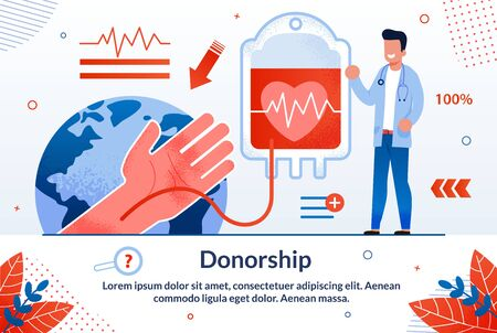Blood Donation Technologies, Saving Blood Plasma for Emergency and Surgery Causes Trendy Flat Vector Vector Banner, Poster Template. Blood Transfusing from Human Hand to Plastic Bag Illustration