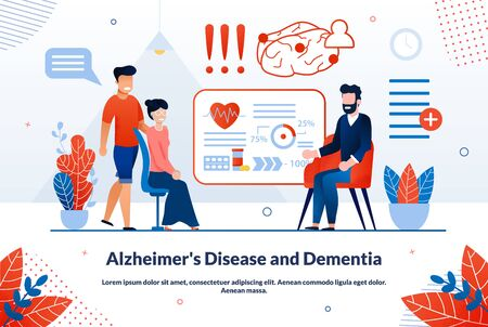 Alzheimers Disease and Dementia Problems Diagnostics, Treatment Trendy Flat Vector Vector Banner, Poster Template. Older Woman with Son Visiting Doctor, Medical Expert Consulting Patients Illustration