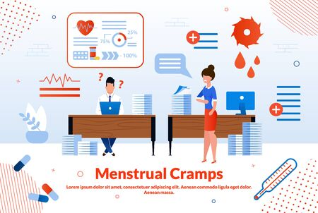 Menstrual Cramps, Woman Reproductive Health, Gynecological Disease Trendy Flat Vector Vector Banner, Poster. Woman Suffering from Painful Feelings in Abdomen During Menstruation Period Illustration