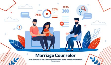Marriage Counselor, Family Psychologist Help Trendy Flat Vector Ad Vector Banner, Poster Template. Married Couple Visiting Psychological Therapist, Talking with Doctor on Appointment Illustration