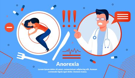 Anorexia, Eating Disorders, Women Psychological Problems Treatment Vector Banner Template Trendy Flat Vector Vector Banner, Poster Template. Exhausted Woman on Plate, Worried Doctor Illustration