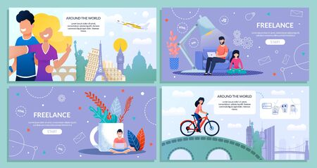 Landing Web Page Bundle Set Travel and Freelance. Bearded Guy Travel and Work, Freelance, Work Online. Guy, Girl Take Selfie, Famous Landmarks, Plane. Girl and Bicycle. Vector Flat Illustration
