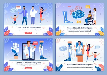 Doctors Consulting Disabled Patients Banner Set. Artificial Intelligence Connection. Rehabilitation after Injure for Children and Adult People. Bionic Leg, Hand Prostheses. Cartoon Vector Illustration