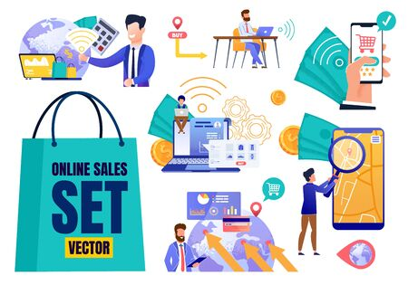Online Sales Flat Set Vector. Cartoon People Characters Using Mobile Application and Computer Interface for Shopping, Buying, Trading. Global Marketing, E-Commerce. Internet Shop. Vector Illustration Çizim