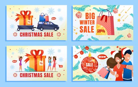 Christmas Sale Offer Winter Advertising Flat Banner Set. Snowflake with Lettering, Fir Branches. Shop Market Poster Design. Happy People Characters Rejoicing Xmas Gifts. Vector Cartoon Illustration