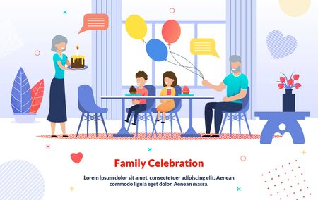 Kids Birthday Family Celebration Cartoon Poster. Grandparents Greeting Grandchildren with Holiday. Grandma Carrying Cake and Grandpa Holding Balloons. Happy Children at Table. Vector Illustration