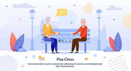 Cartoon Senior Men Friends Characters Playing Chess in Park Outdoors. Aged Smart Players. Strategy Game. Elderly People and Activities, Communion Hobby. Inspiration Flat Poster. Vector Illustration