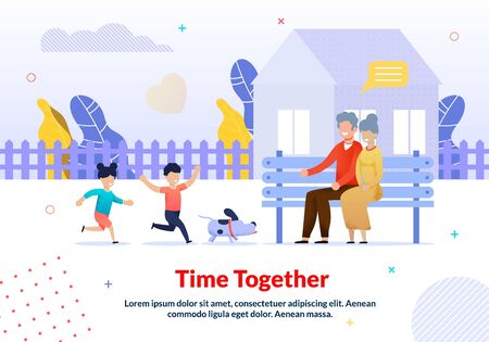 Cartoon Happy Grandparents and Grandchildren Characters. Walking with Domestic Pet Dog in Yard. Grandpa and Grandma Sitting on Bench Looking at Playful Kids. Flat Poster. Vector Illustration