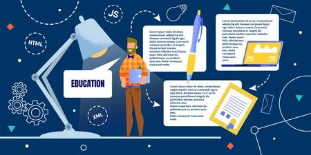Advertising Poster Programmer Night Education. Guy in Casual Clothes Stands in Light Table Lamp and Smiles. Bearded Man Holds Laptop, Near Large Pen and Diploma. Vector Illustration.