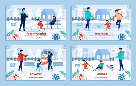 Winter Happy Family Entertainment Flat Poster Set. Cartoon Parents and Children Characters Enjoy Outdoors Recreation with Snow on Vacation. Sledding, Ice Skating, Making Snowman. Vector Illustration