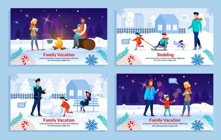 Cartoon Happy Family Characters Having Winter Rest on Holiday Vacation. Parents and Children in Warm Clothes on Picnic in Park, Celebrating New Year, Sledding. Flat Banner Set. Vector Illustration