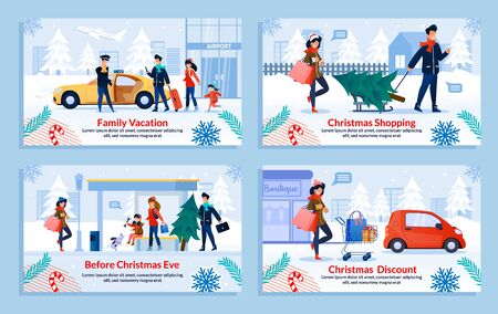 Christmas Shopping during Winter Sale and Discount. Preparation for Holidays Celebration. Travelling on Vacation. Cartoon Family and Children Characters. Banner Flat Set. Vector Illustration