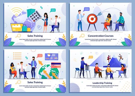 Online Education, Training and Courses Banner Set. Cartoon Female Coach and Male Mentors Characters Giving Lectures about Sales, Keeping Concentration, Leadership. Vector Flat Illustration