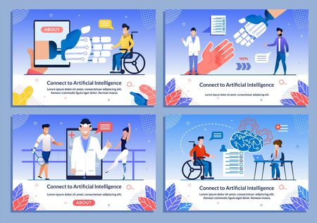 AI Support for Disabled Patient Medical Banner Set. Cartoon People Characters in Wheelchair Received Bionic Leg, Hand Prostheses. Rehabilitation after Injure, Amputation. Vector Flat Illustration Çizim