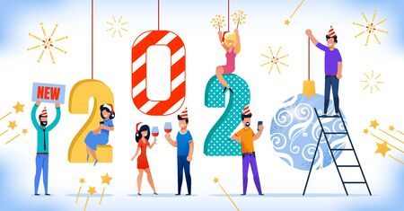Happy Celebration of New 2020 Year, Winter Holiday Party Trendy Flat Vector Concept. Cheerful Men and Women in Holiday Santa Hats Drinking Wine, Making Selfie, Having Fun with Sparkles Illustration