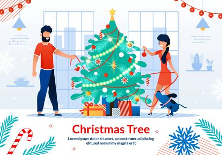 Happy Family New Year Celebration, Christmas Tree Decorations Trendy Flat Vector Horizontal Banner, Poster Template. Smiling Couple, Husband and Wife Decorating Spruce with Toys, Garlands Illustration Illustration