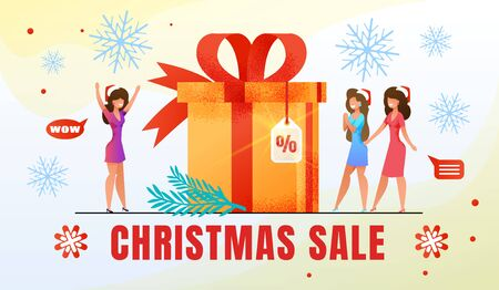Christmas Seasonal Sale, Discounts in Womans Clothing Shop, Winter Holidays Shopping Flat Vector Advertising Banner, Promotion Poster Template. Happy Women in Santa Hats near Gift Box Illustration 矢量图像