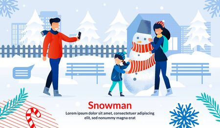 Winter Holidays Entertainments, Outdoor Activities and Games for Family Trendy Flat Vector Horizontal Banner, Poster Template. Happy Parents with Daughter Making Snowman in City Park Illustration