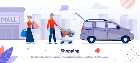 Nice Cartoon Old Senior Married Couple Characters Shopping in Supermarket Poster. Aged Man Carrying Trolley Cart and Woman Holding Handbag with Groceries from Store. Vector Flat Illustration