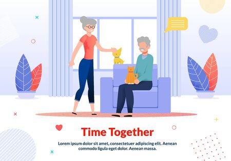 Smiling Grandparents Petting Cat, Dog Rest at Home. Senior Married Man and Woman Family Spending Time Together. Living Room Interior. Flat Motivation Poster. Vector Cartoon illustration