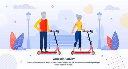 Outdoor Activity for Retired People Flat Poster. Elderly Characters. Grandfather and Grandmother Happy Couple Doing Sport. Senior Tourist Tandem Electric Scooting. Vector Flat Cartoon Illustration