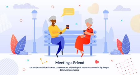 Meeting Multi-Ethnic Senior Friends Cartoon Flat. Afro-American and Caucasian Women Sitting on Bench in Park and Drinking Coffee. Female Characters Chatting, Gossip. Vector Flat Illustration