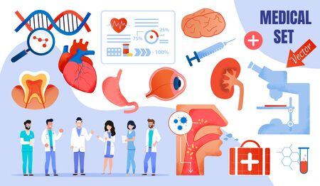 Healthcare Medical Flat Vector Set. Cartoon Doctors Characters in Uniform. First aid, Health Protection, Insurance, Research Program, Diagnosis and Treatment. Medicine and Surgery. Vector Illustration