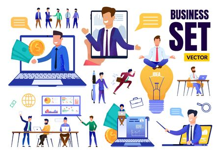 Business Trendy Flat Set. Different Situation. Cartoon Businessmen Teaching, Brainstorming, Mediating, Creating Idea, Earning Money. Conference, Meeting, Coaching. Communication. Vector Illustration Zdjęcie Seryjne - 132537926