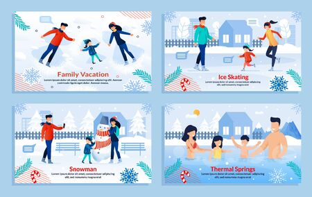 Cartoon Banner Set. Happy Family Members Performing Outdoor Activities Fun. Parents Children in Winter Clothes Sledding, Lying on Snow, Resting in Thermal Springs, Making Snowman. Vector Illustration
