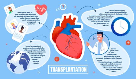Informational Flyer Transplantation Inscription. In Foreground is Large Human Heart. Male Doctor in White Coat Shows Human Organ. Patient Cards and Doctor Data. Vector Illustration. Illusztráció