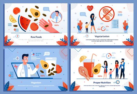 Eating Habits and Diet for People Flat Banner Set. Raw Foods, Vegetarianism, Veganism, Proper Nutrition. Man and Woman Using Application. Healthy Lifestyle. Cartoon Design. Vector Illustration Çizim