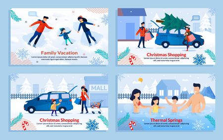 Extreme Family Winter Sport and Rest Banner Set. Cartoon Poster with Parents and Children Resting, Having Fun with Snow. Outdoor Activities. Christmas Vacation. Vector Flat Illustration Illustration