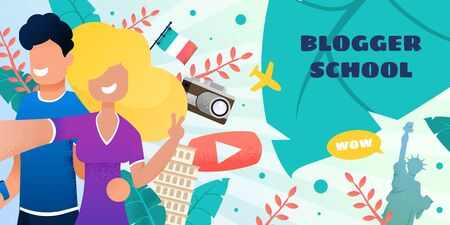 Blogger School. Travel Banner. Landing Web Page. Vector Flat Illustration Smiling Young Brunette Guy and Blonde Girl Take Selfie, Filming Video, Famous Landmarks, Italy Flag, Camera, Button