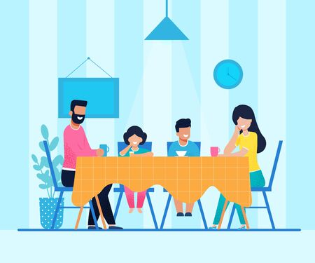 Happy Cartoon Family Having Dinner at Home. Mother and Father Drinking Coffee or Tea. Daughter Tasting Juice and Son Eating Soup. Parents and Children Sitting in Living Room. Vector Flat Illustration Çizim