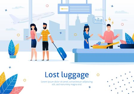 Airline Company Services, Searching and Returning Lost Luggage Trendy Flat Vector Advertising Banner, Poster Template. Man Frustrated and Angry Because of Missing Stuff in His Baggage Illustration 矢量图像
