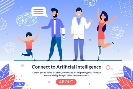 Future Limbs Prostheses Controlled by Artificial Intelligence Trendy Flat Vector Web Banner, Landing Page Template. Happy Doctor, Scientist, Disabled People with Robotics Hands and Legs Illustration Illustration