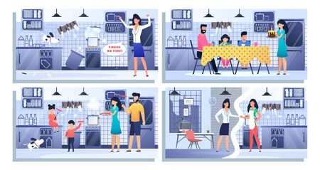 Set Illustration Happy Family, Bundle Landing Page. Family Spare Time Together. Mother, Father, Kids, Son, Daughter, Dog, Cook Food, Sausages, Celebrate Birthday. Woman Tries Be Best Mom and Worker