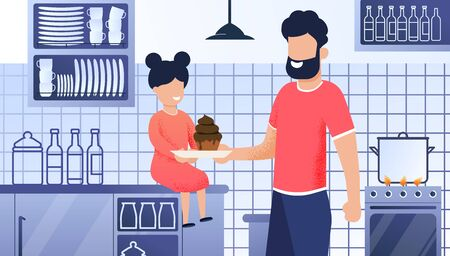 Father and Daughter Kitchen Cartoon Illustration. Happy Family Concept. Smiling Bearded Dad Gives Daughter Plate Cakes, Muffin. Home Kitchen Background, Appliances, Saucepan, Homemade Dish
