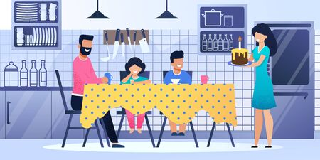 Happy Family Together Celebrate Birthday Kitchen. Vector Illustration Cartoon Style. Home Holiday, Parents, Mother, Bearded Father, Kids, Son, Daughter, Table, Cake Candle, Kitchen Background Иллюстрация