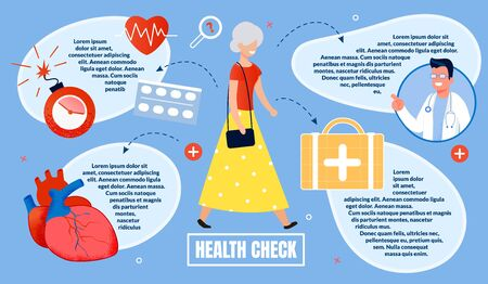 Advertising Poster, Inscription Health Check. Centered, an Elderly Woman Walks Down Street and Smiles. Doctor Shows Icons with Heart, Medical Suitcase and Speedometer. Vector Illustration. Ilustracja