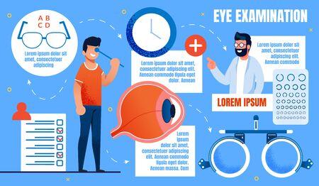Bright Banner Inscription Eye Examination, Health. Close Up Mans Eyeball. An Ophthalmologist Examines Man Using Medical Equipment. Guy Closes his Eyes to Check his Eyesight. Vector Illustration.